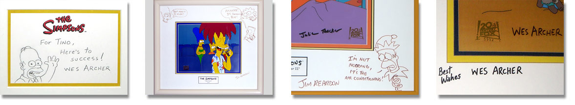 Simpsons Cels Autographed Pieces
